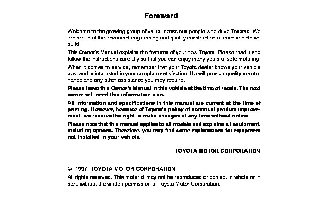 1997 toyota corolla owners manual download