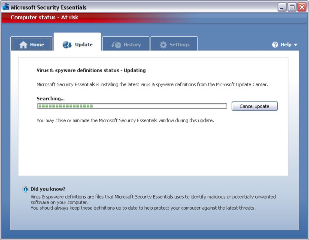 download microsoft security essentials updates manually